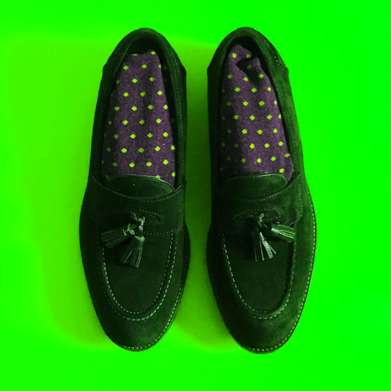English style loafers with socks in polka dots print, apple green version  © styleART design studio