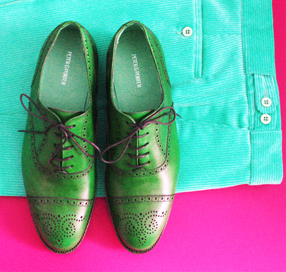 Copy of Green shoes on turquoise cords