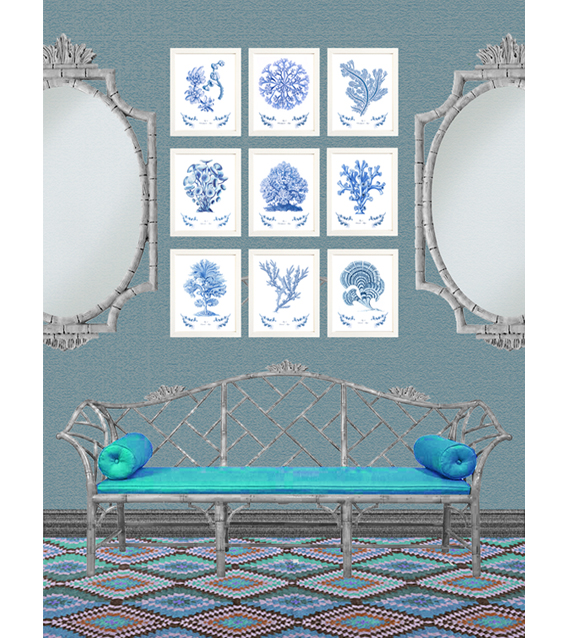 Digitally created interior collage with a collection of blue coral prints.  © styleART design studio