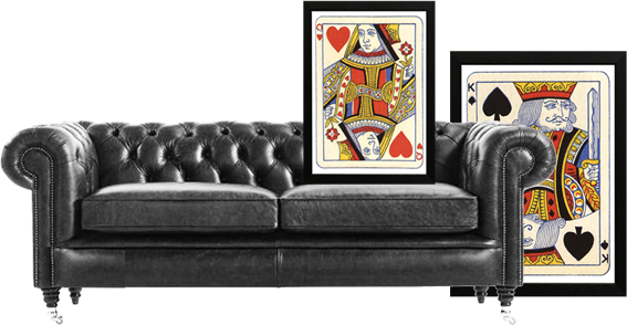 Graphic collage of an interior with Chesterfield sofa and playing cards prints.  © styleART design studio