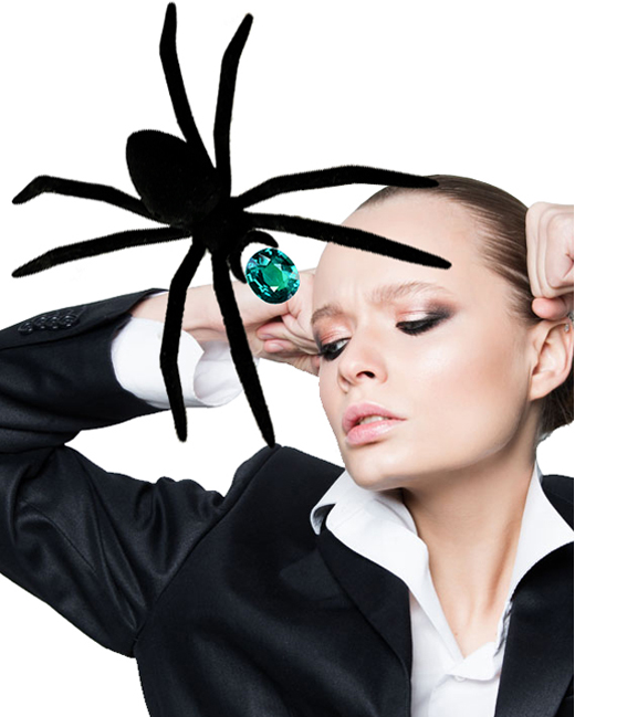 Fashion photography and collage with spider and emerald.  © styleART design studio