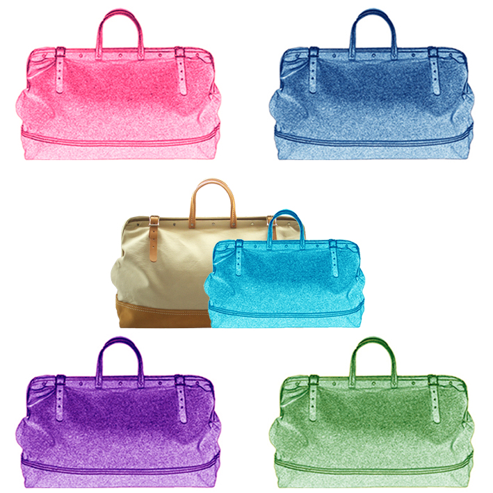 Digital collage of a travel bag in different colours based on the original piece.  © styleART design studio