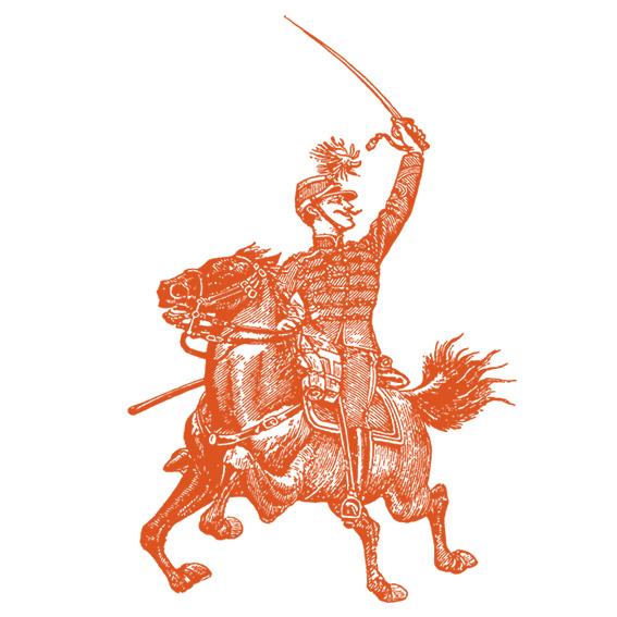 Victorian soldier on horseback illustration in orange colour.  © styleART design studio