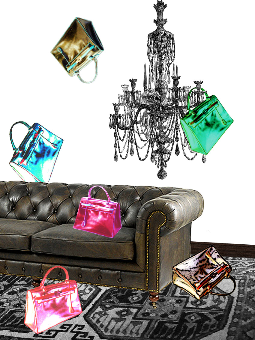 Photography collage with Chesterfield sofa, chandelier and Hermès Kelly bags.  © styleART design studio