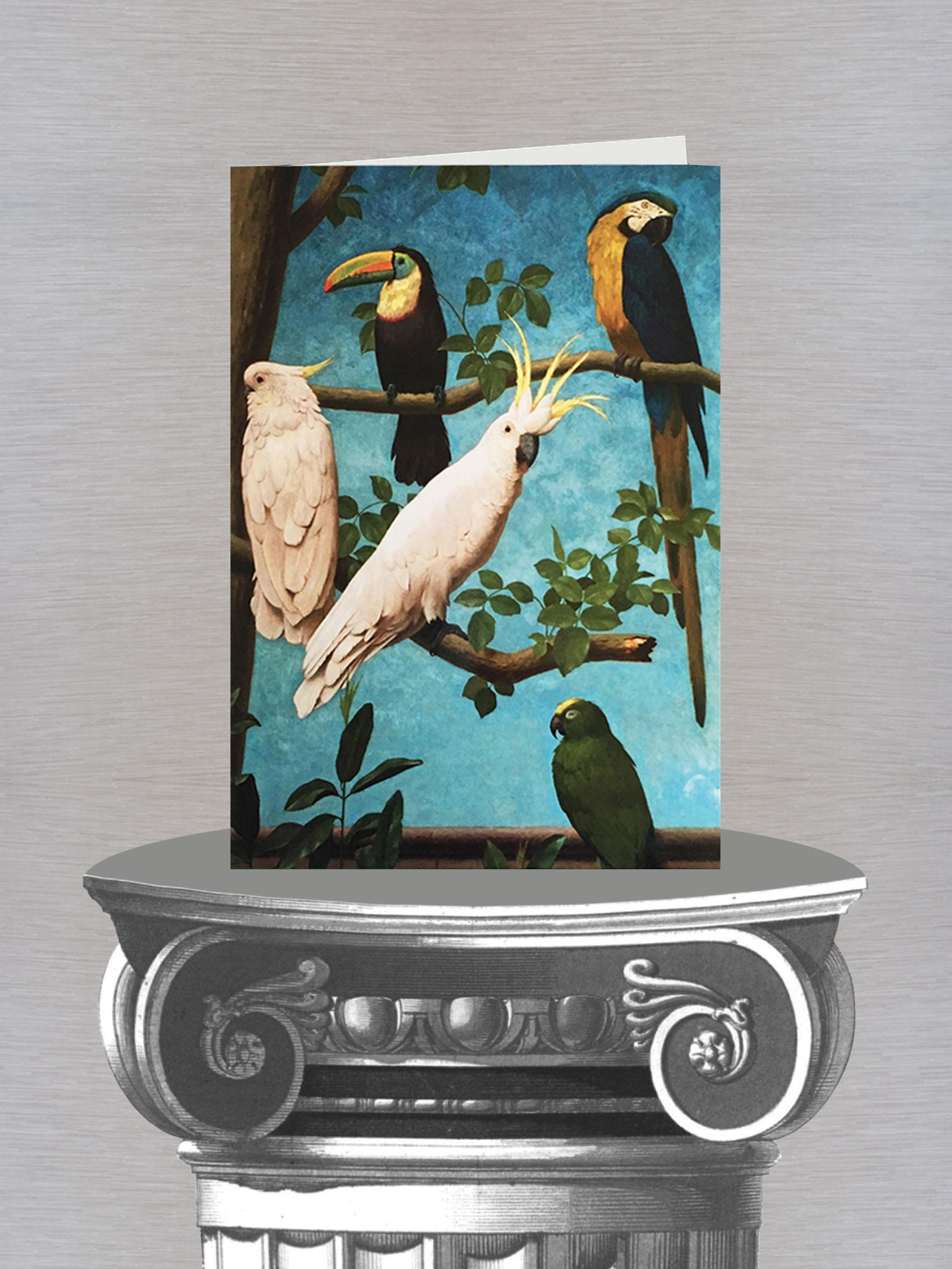 tarjeta y sobre con loros y pajaros.jpg