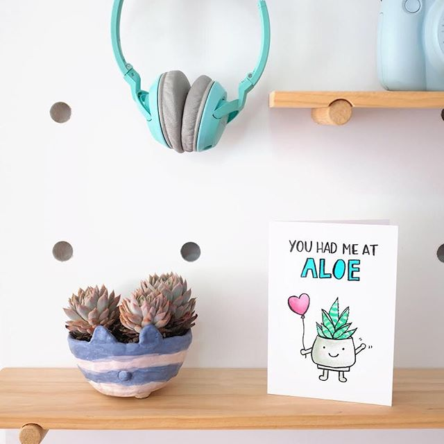 New card! Sorry it took so long (a year or so? Haha). My plant obsession continues with this aloe vera inspired card. Photo featuring the cutest little planter made by @steeppham.  You'll be able to shop this card once I organise printing 😅. Will keep you guys posted in my stories.