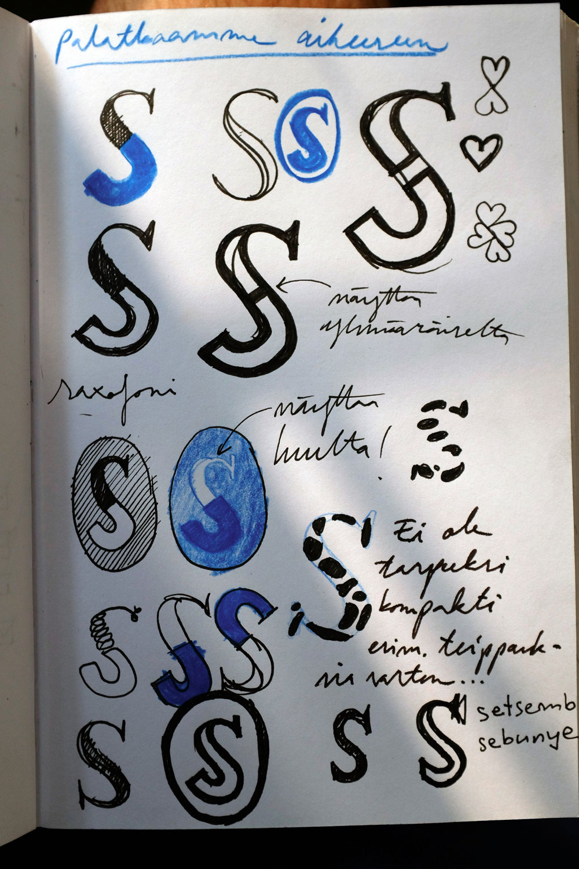 Alustava luonnos.Kantava ajatus oli kahden erilaisen S-kirjaimen yhdistäminen toisiinsa: ykseys erilaisuudessa.