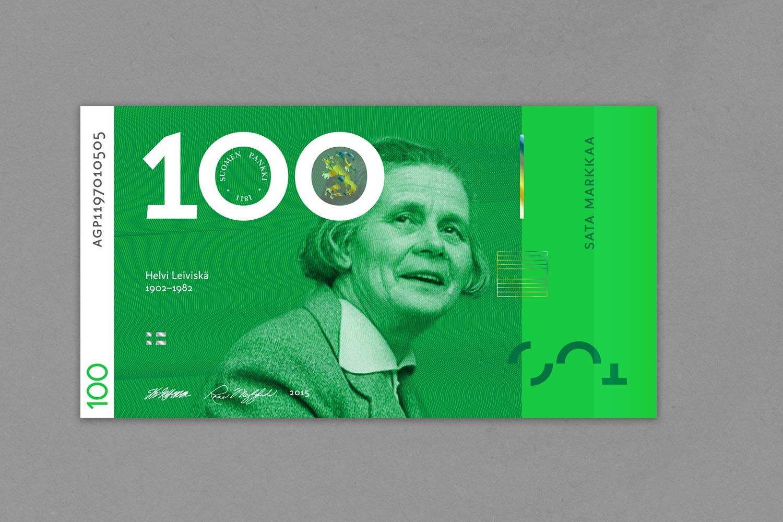 Sadan markan setelissä yksi harvoja suomalaisia naissäveltäjiä: Helvi Leiviskä .