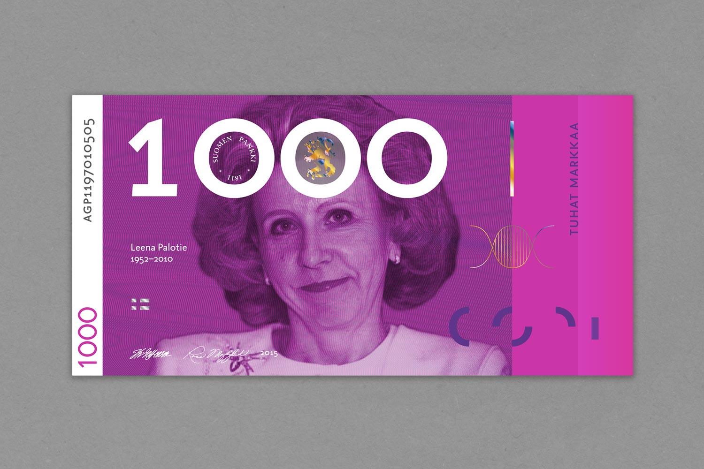 Tuhannen markan setelissä maailmankuulu geenitutkija  Leena Peltonen-Palotie .