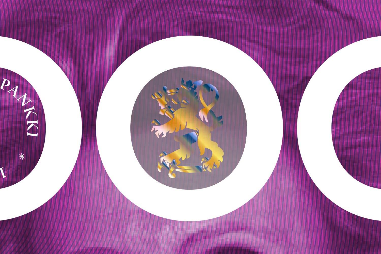 Ikkuna ja leijonahologrammi 100, 500 ja 1 000 markan seteleissä.
