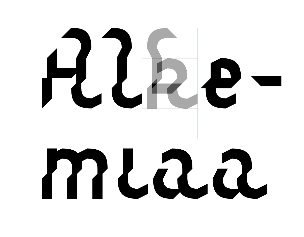 Alghem -fontin  kirjaimet koostuvat kahdesta perusmuodosta.