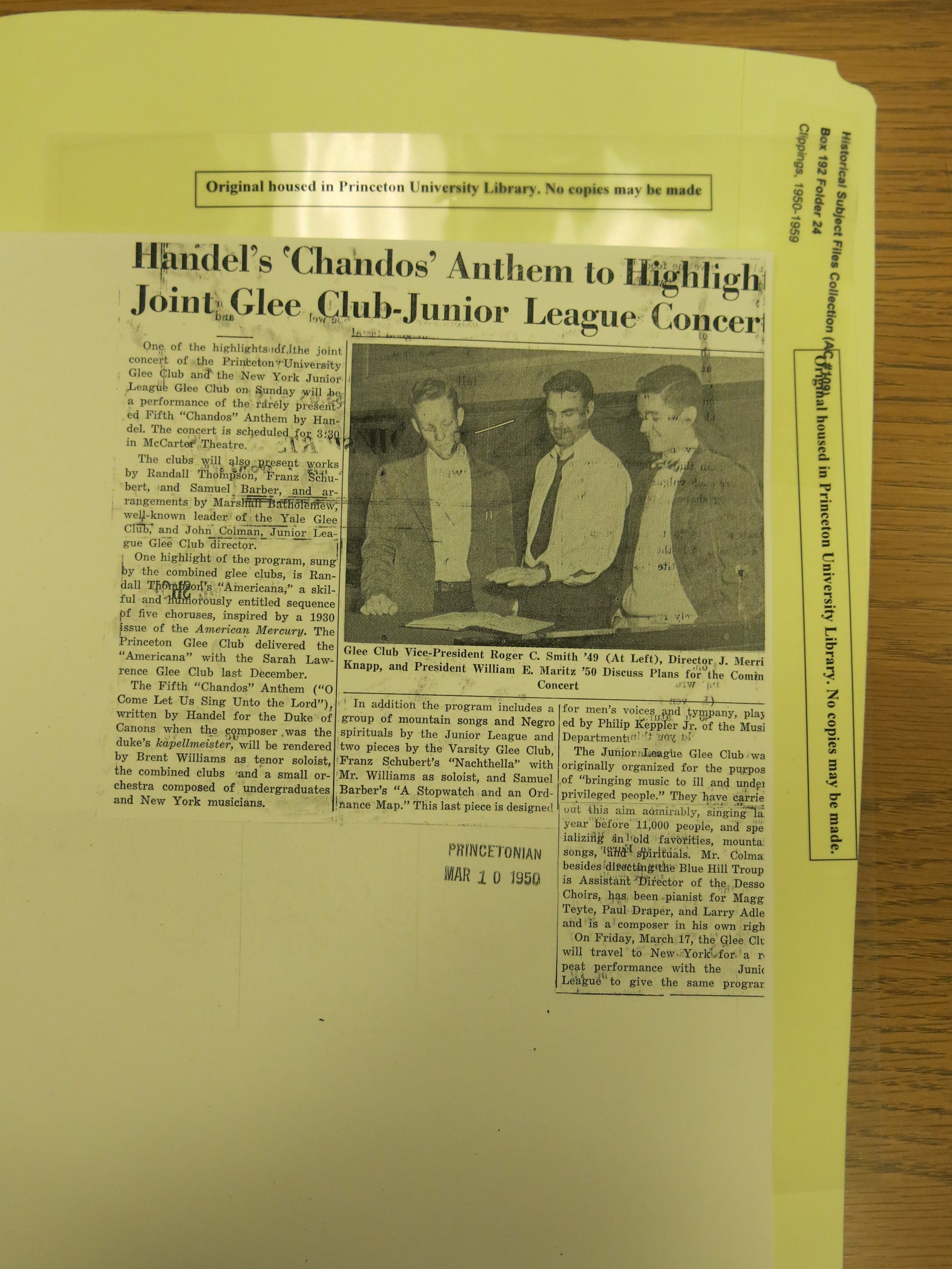 "An article on the 1950 spring tour, which included a TV appearance on the ""Nick Campofreda Sports Show."""