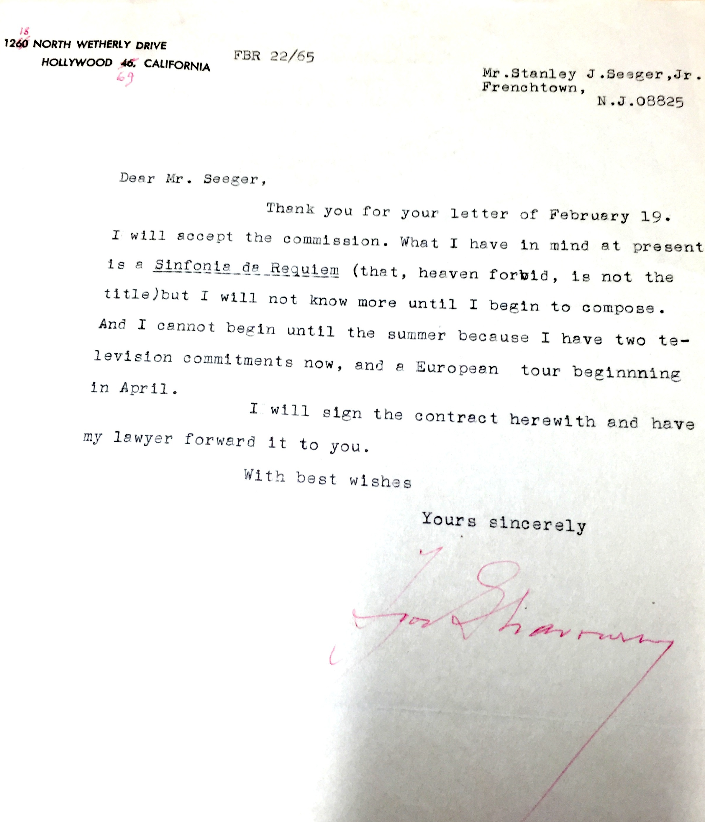 The letter sent on February 22, 1965 is a positive commitment to the project of composing a Requiem.