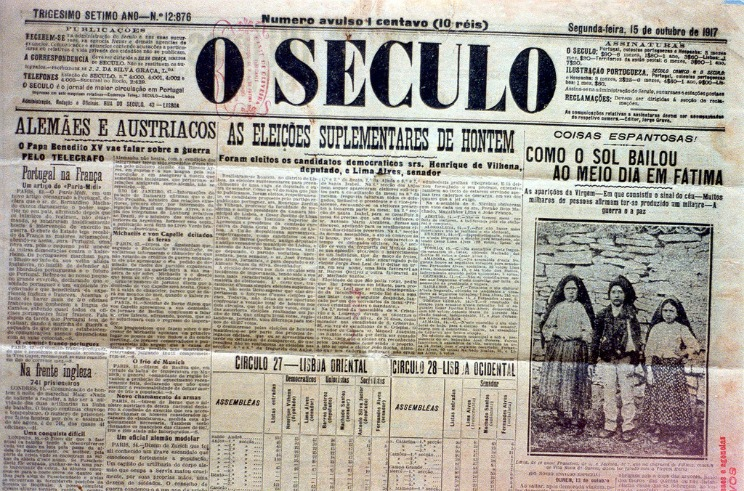 O Século , edição de 15 de Outubro de 1917.