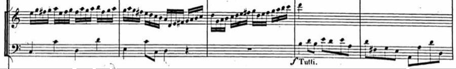 Example 3. Detail of organ part: Handel,  Saul , ( Symphony , movement III), mm. 13-16.