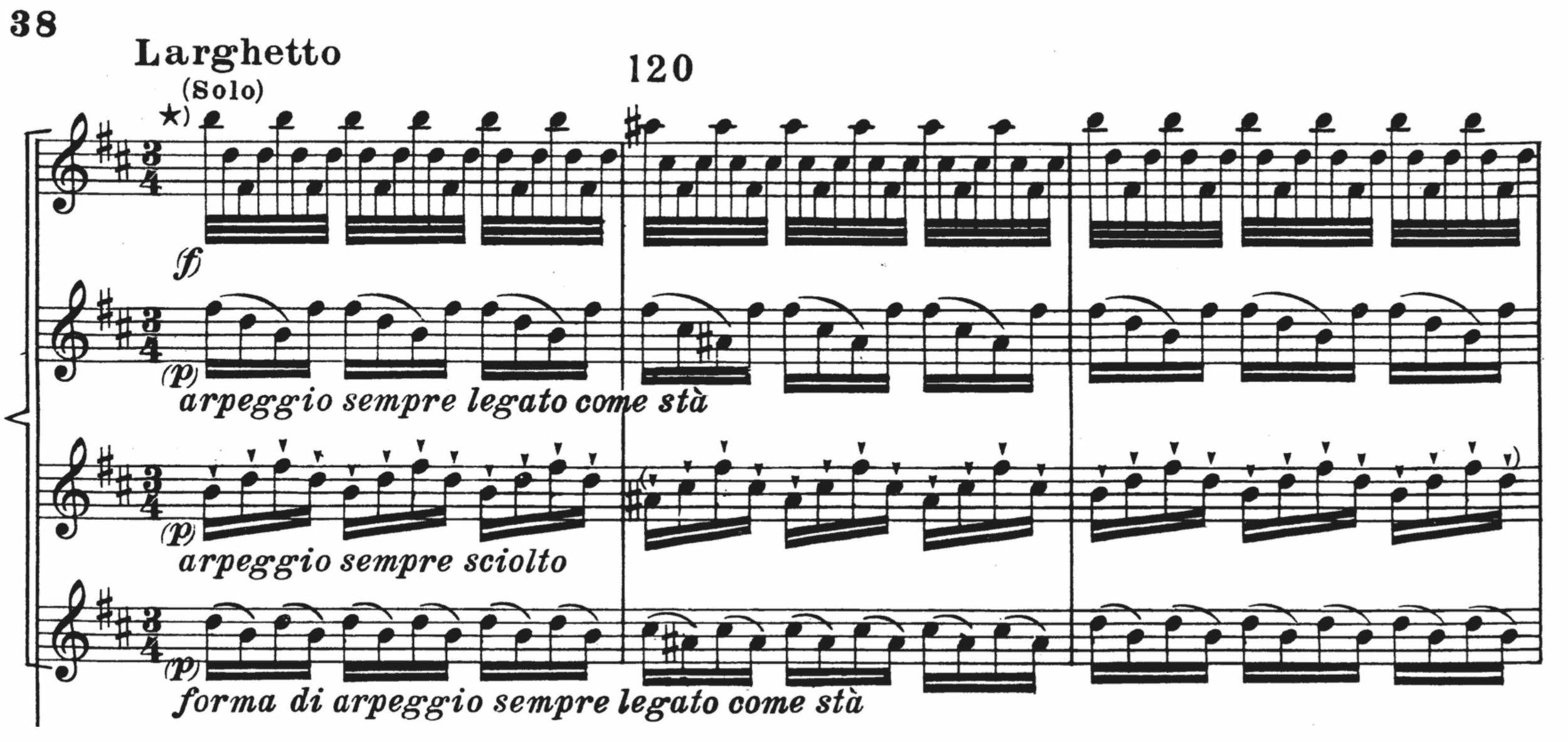 Figure 2. Vivaldi,  L'estro armonico,  Op. 3, No. 10; II. Largo-Larghetto,  concertanti  (violin soloists), mm. 119-121.