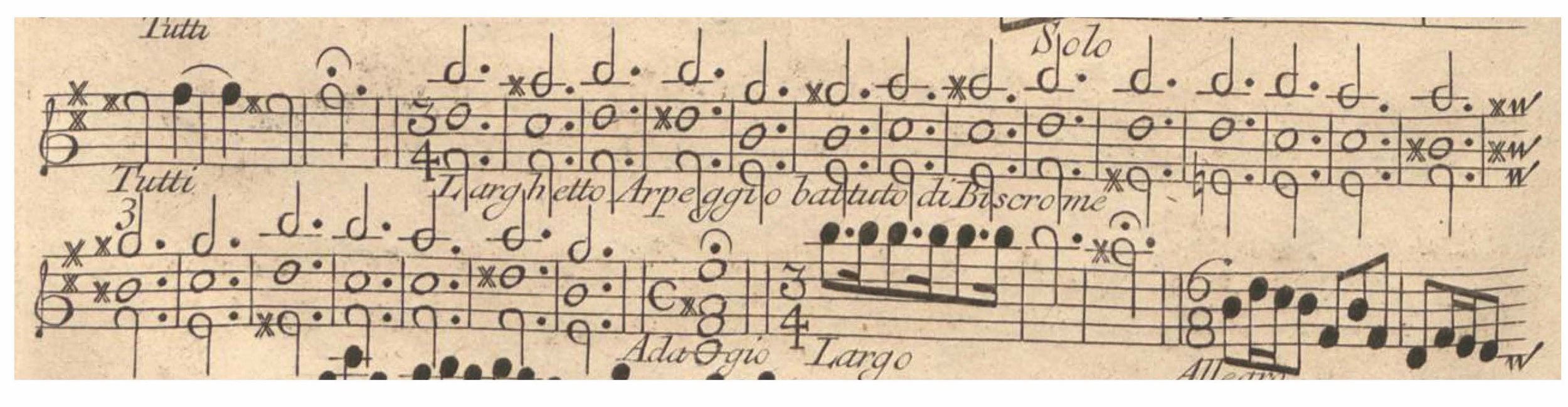 Figure 1. Vivaldi,  L'estro armonico,  Op. 3, No. 10; II. Largo-Larghetto, Violin I concertante. Detail from the first edition published in Amsterdam, 1711. Vivaldi's note –  Arpeggio battuto di Biscrome  — means that the beat should be divided into thirty-second notes.
