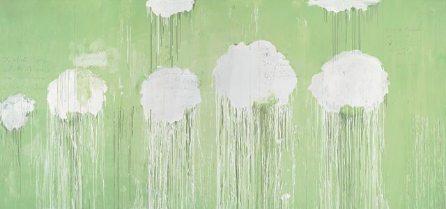Cy Twombly,  Untitled (Peony Blossom Paintings) . Acrílico, lápis de cera e lápis de cor sobre madeira, 252 x 552 cm. 2007.