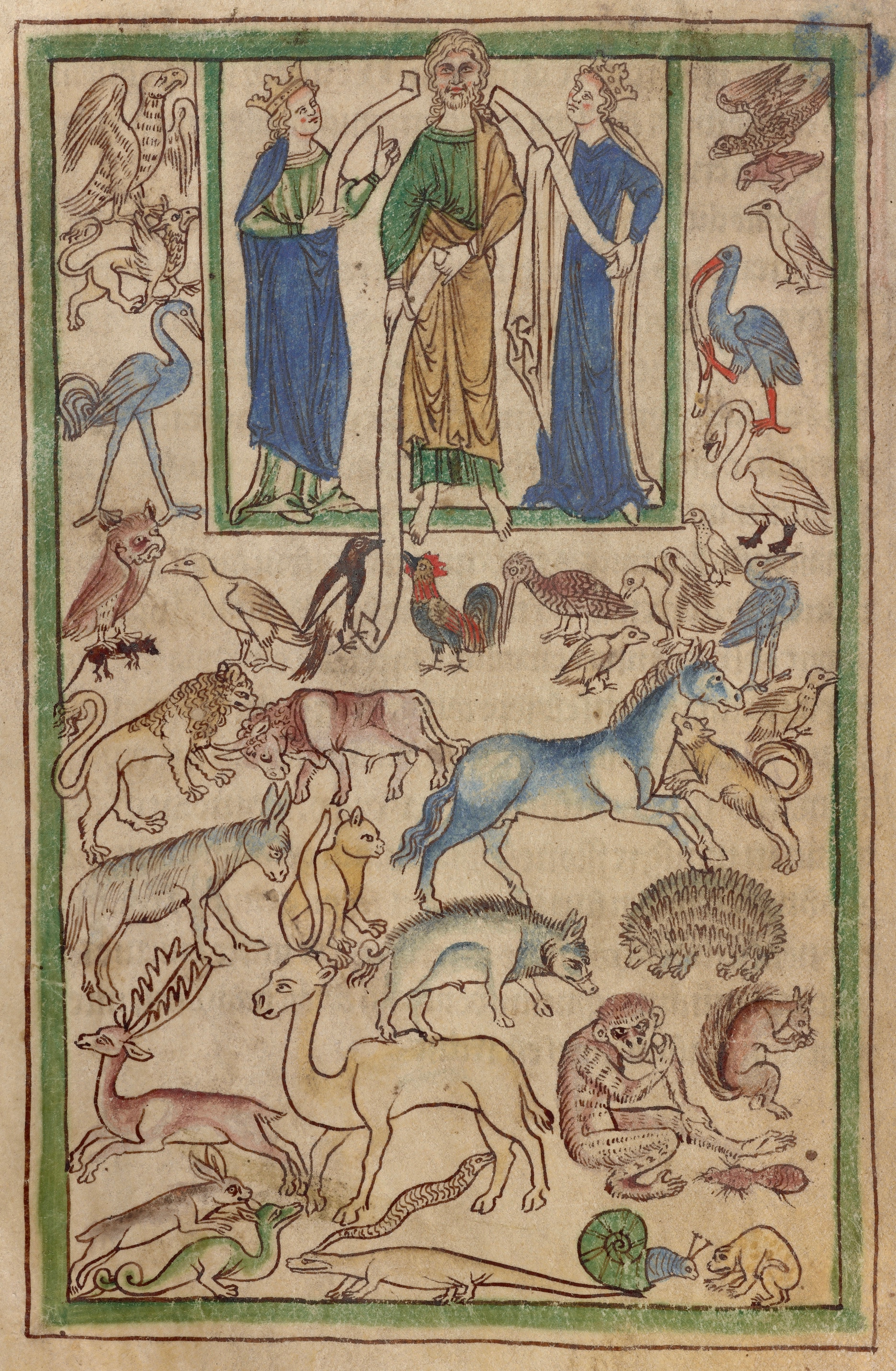 Adão nomeando os animais , Bestiário Northumberland  (Inglaterra, c. 1250-60), ms. 100, fol. 5v. The J. Paul Getty Museum, Los Angeles