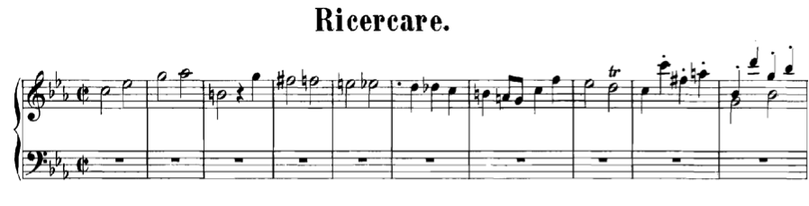 Figure 1.   Ricercare a 3  (three-voice fugue for keyboard), from  Musical Offering  (BWV 1079), mm. 1-10.