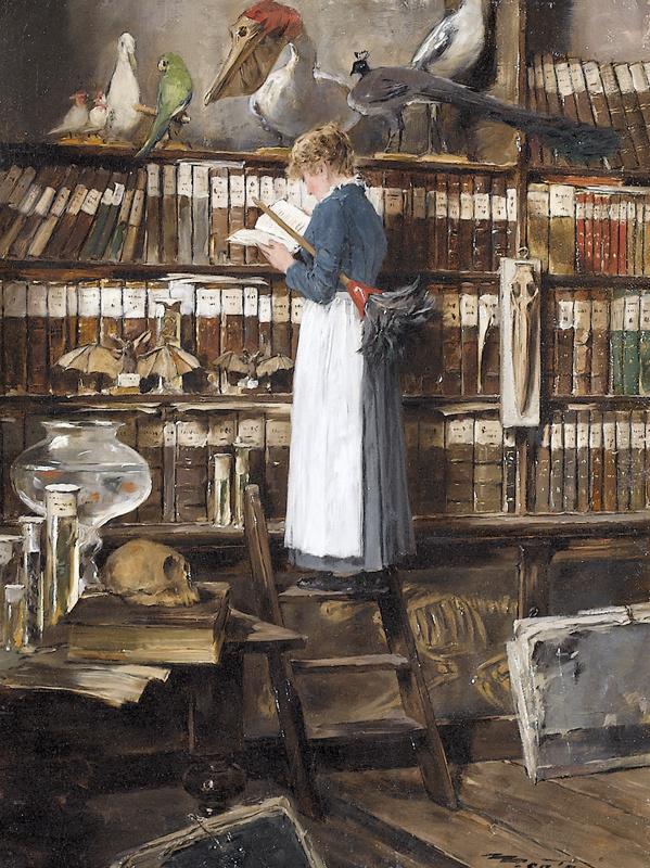Edouard John Menta, Lesendes Dienstmädchen in einer Bibliothek , 1915.