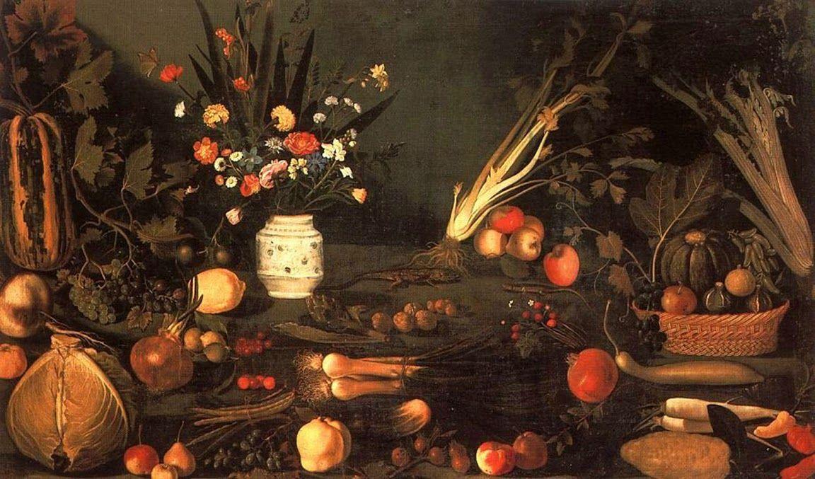 Caravaggio.  Natureza-morta com flores e frutos , 1601.