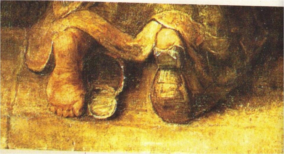 O Regresso do Filho Pródigo , Rembrandt (detalhe).