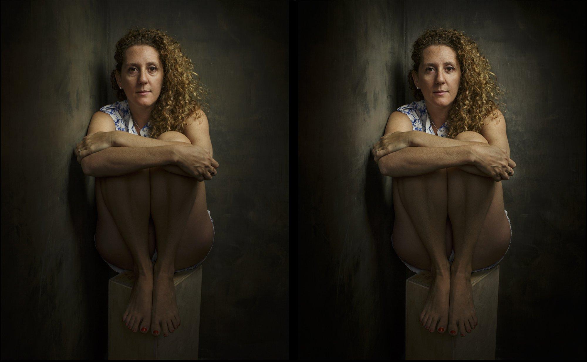 Corner portrait - before/after