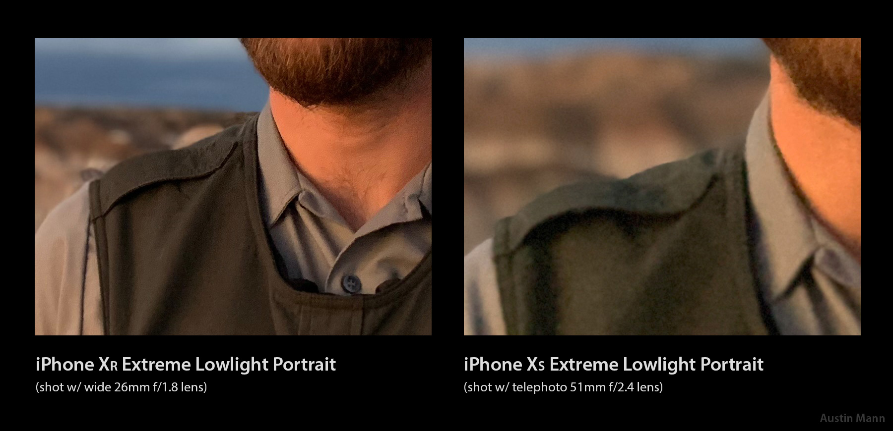 iPhone XR outperforms iPhone XS in some extreme low-light portrait performance.