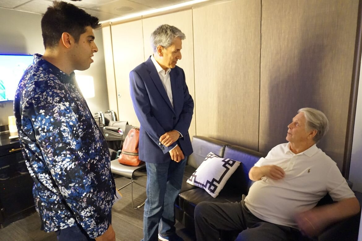 David Ghesser (left), the first recipient of the Brian Wilson scholarship, and David Leaf, who funded the the award, backstage with Brian Wilson.