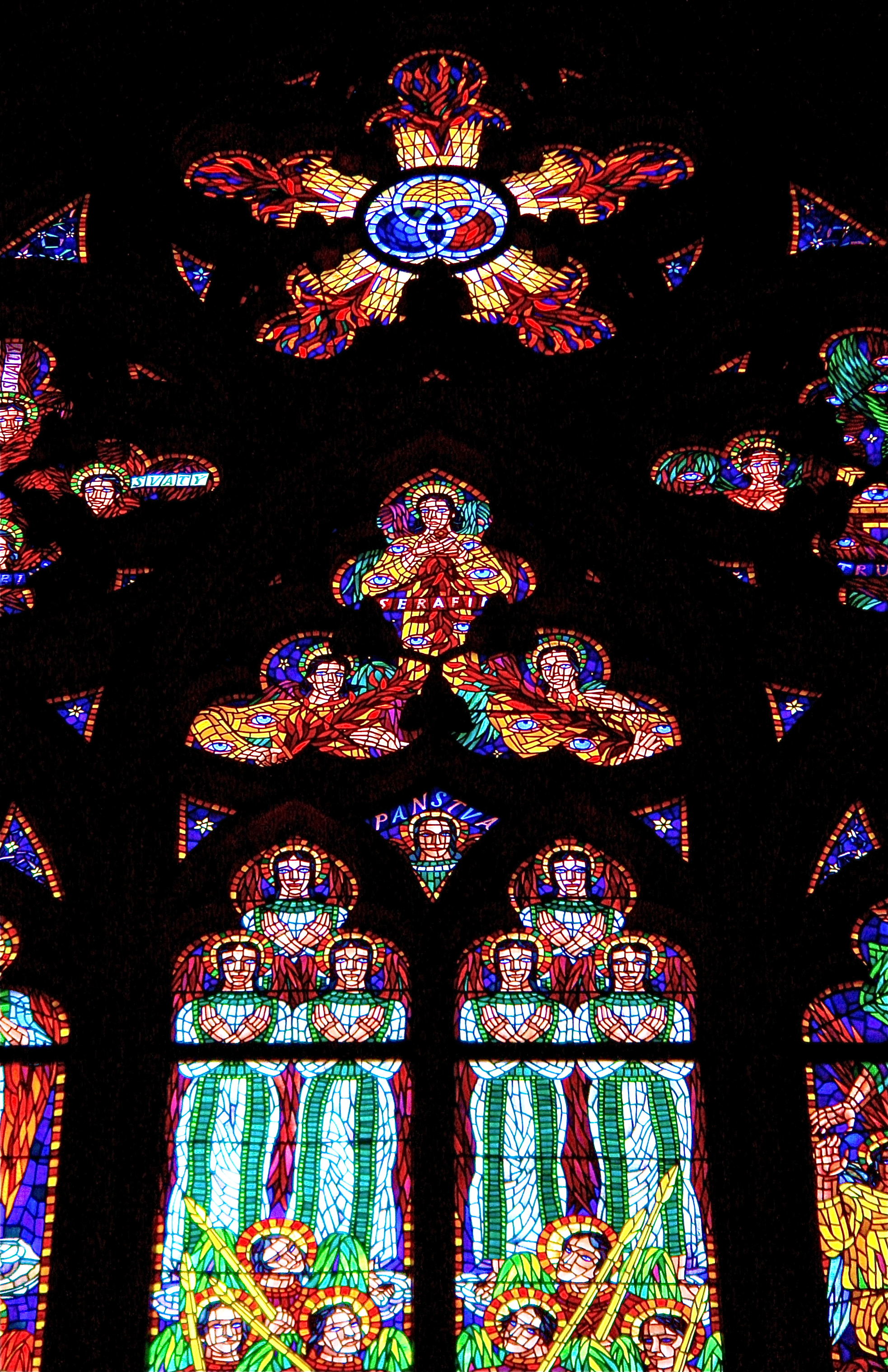 Stained Glass Windows In Prague's St Vitus Cathedral