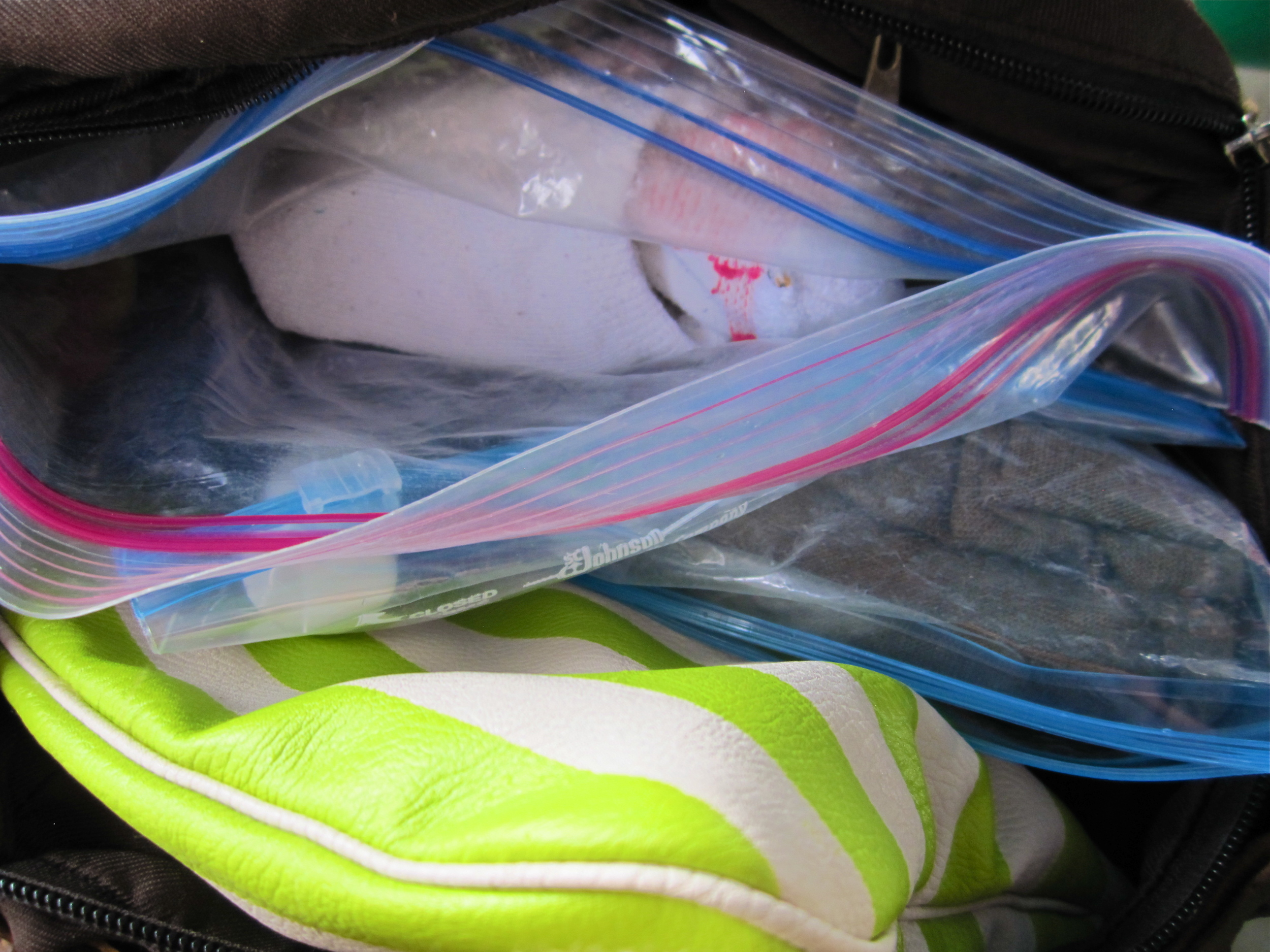 Everything in my bags was packed away in plastic — I had a feeling I would be a target... I was correct...