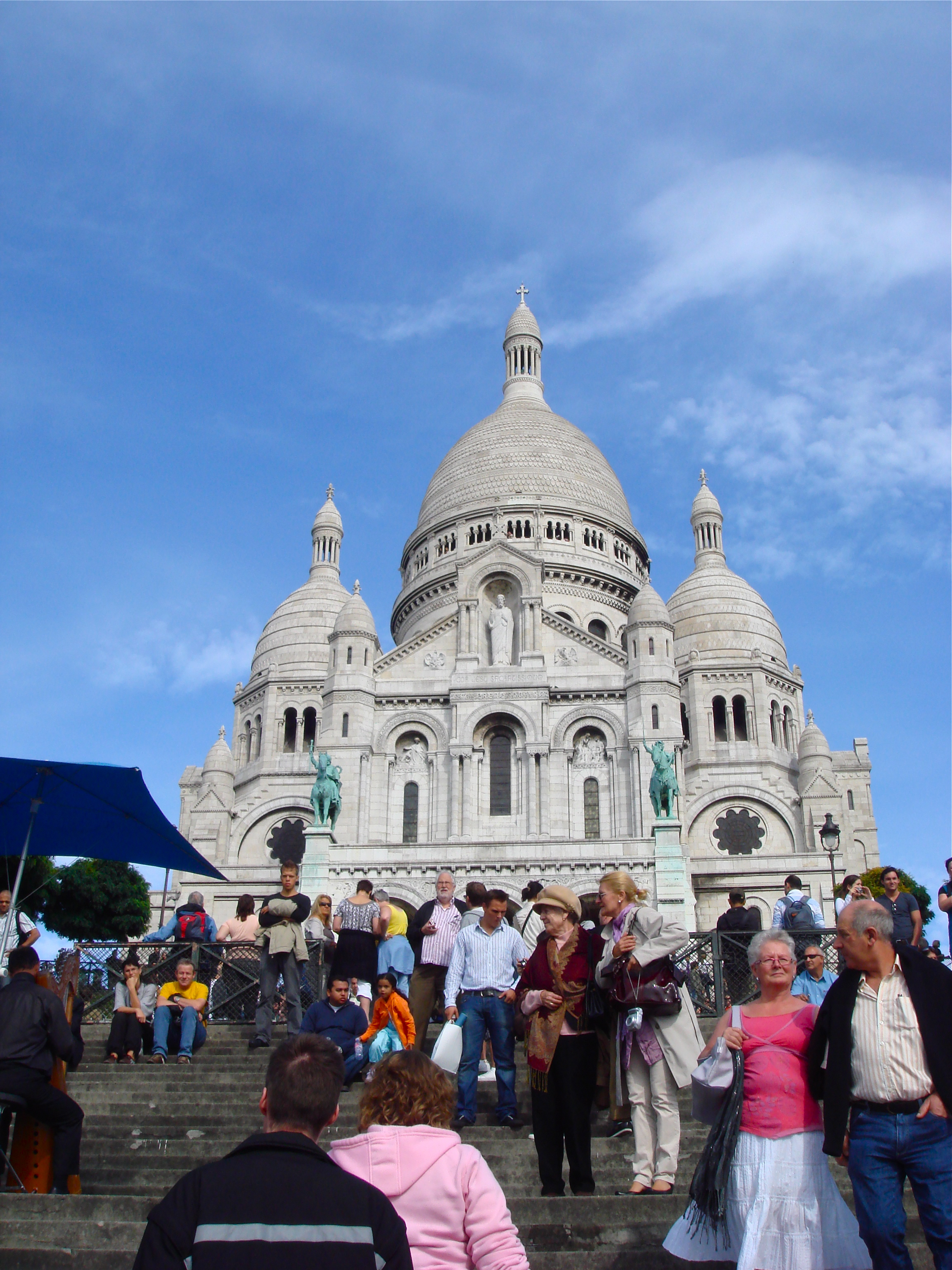 The tourist filled Basilica of the Sacre Ceour in Paris, France