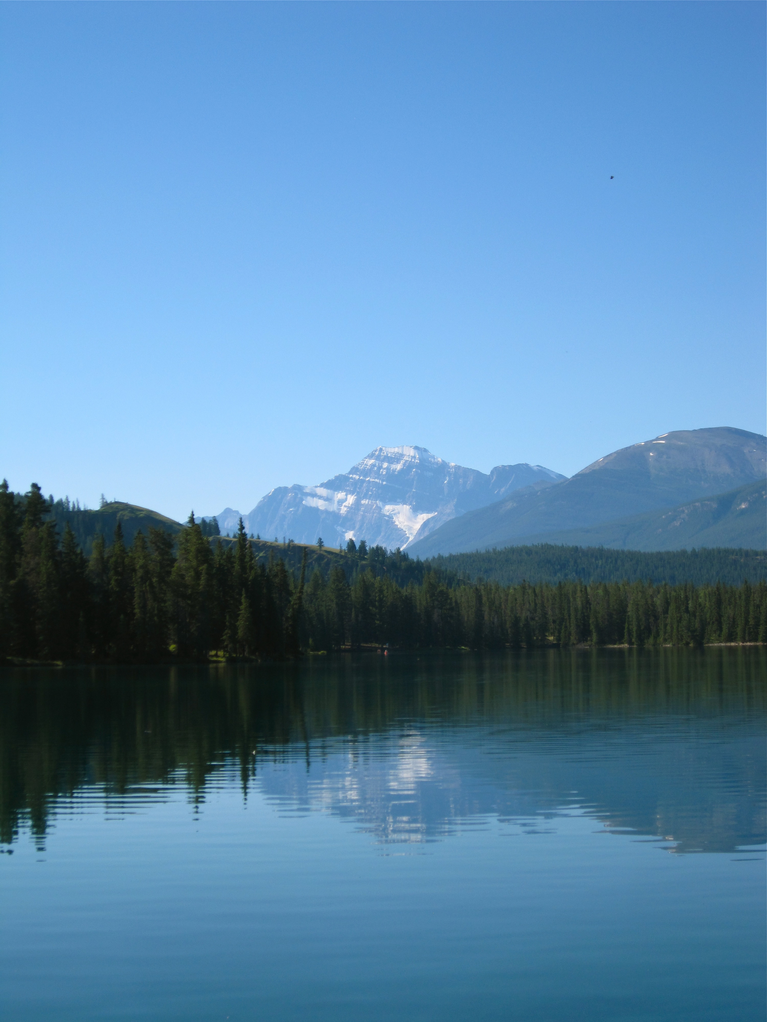 The  view of the lake at The Fairmont Jasper Park Lodge in Jasper, Alberta, Canada
