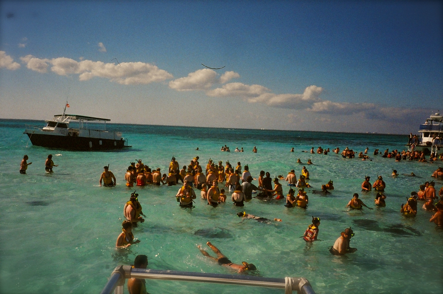 A view (from the boat) of the sand bar just off the island of Grand Cayman.