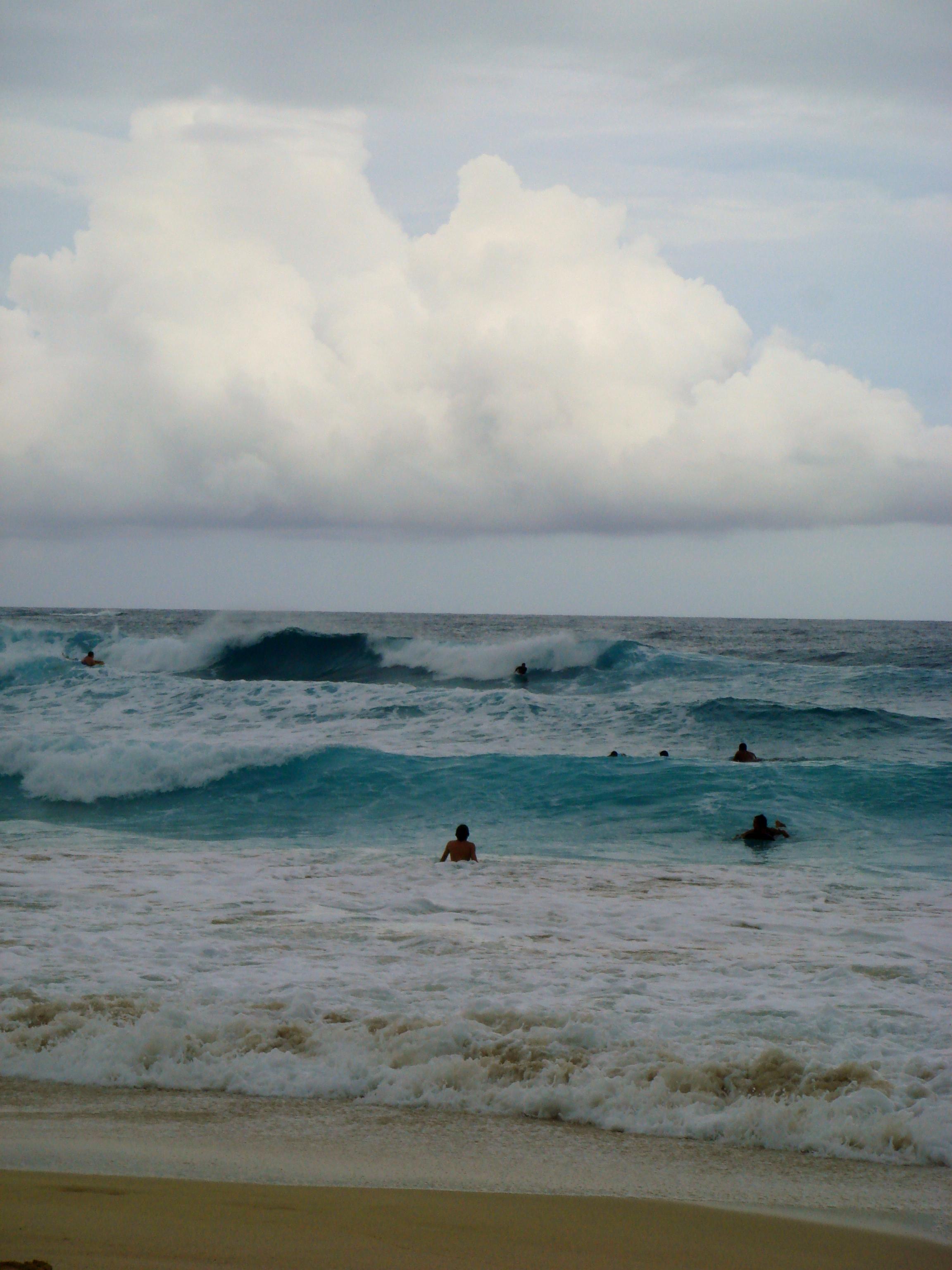 Waves after a storm on the island of Oahu, Hawaii