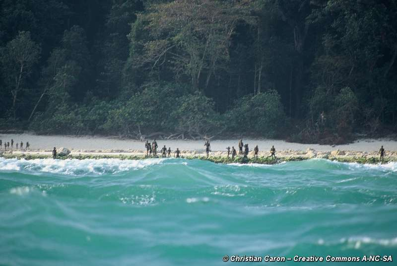 One of the few photos of the inhabitants of North Sentinel Island (  source  )