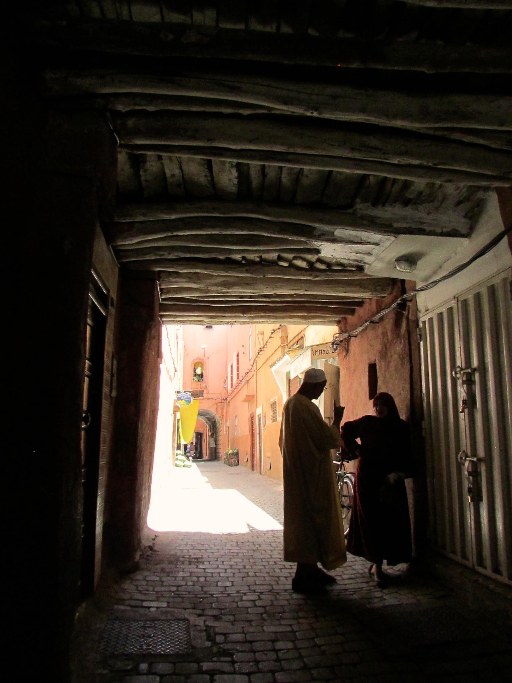 A street in the medina in Marrakesh, Morocco