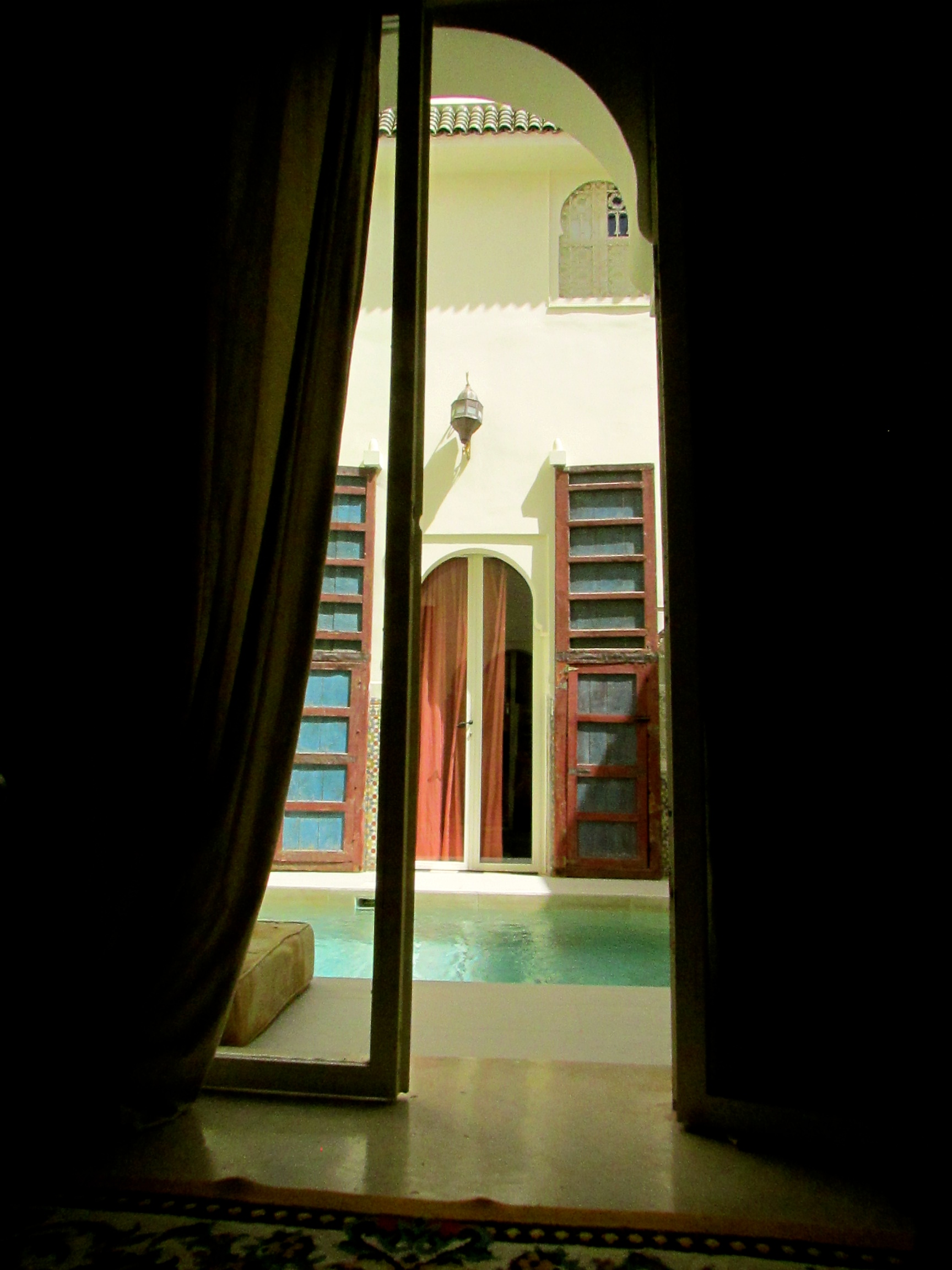 The view of the plunge pool from my first room at the Hotel du Tresor Riad