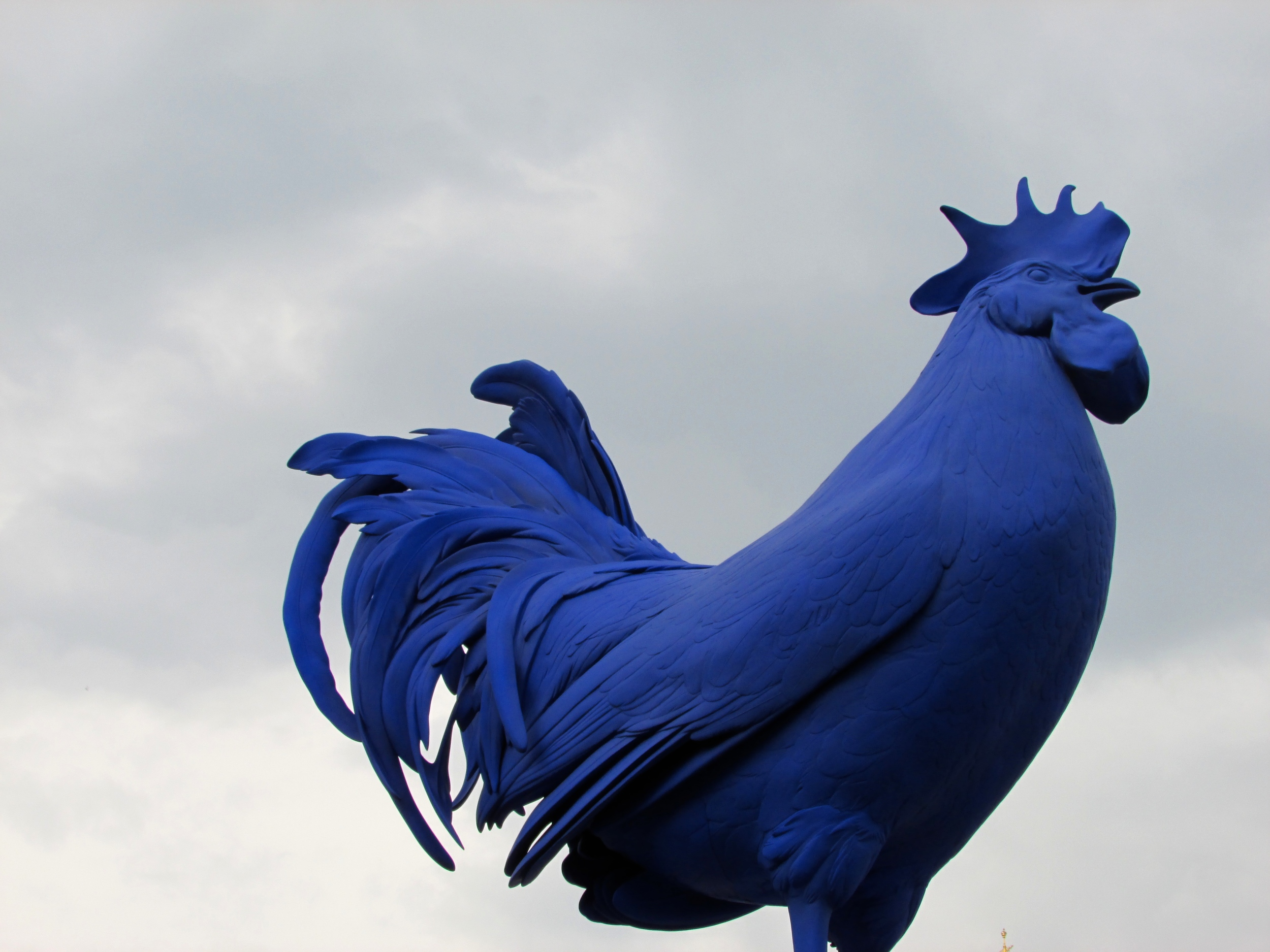 A huge blue... rooster in Trafalger Square, London