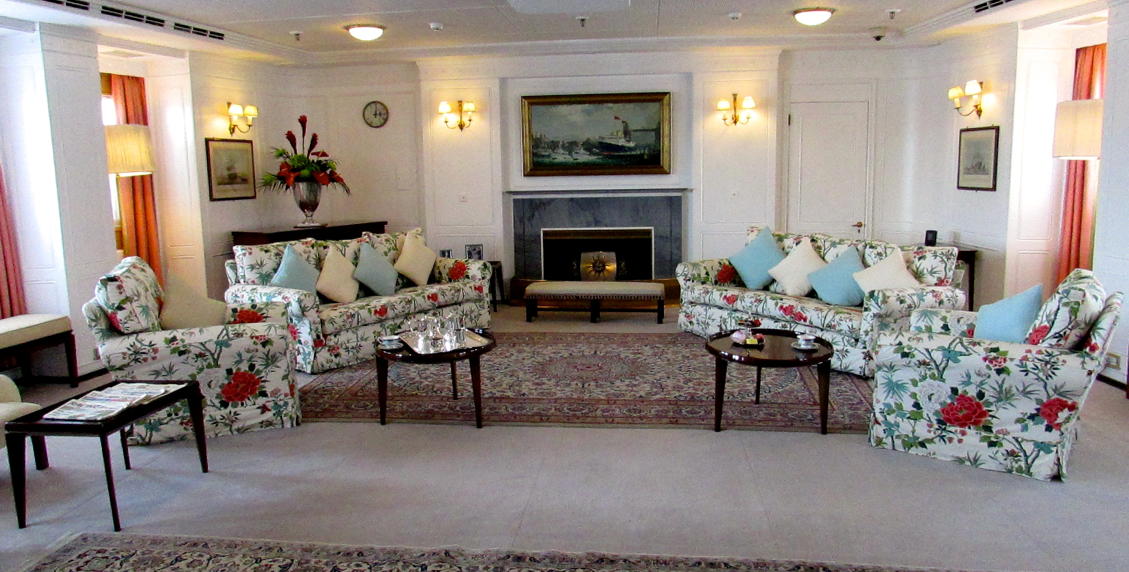 The drawing room is decorated like a charming country home and was the gathering place on the yacht.
