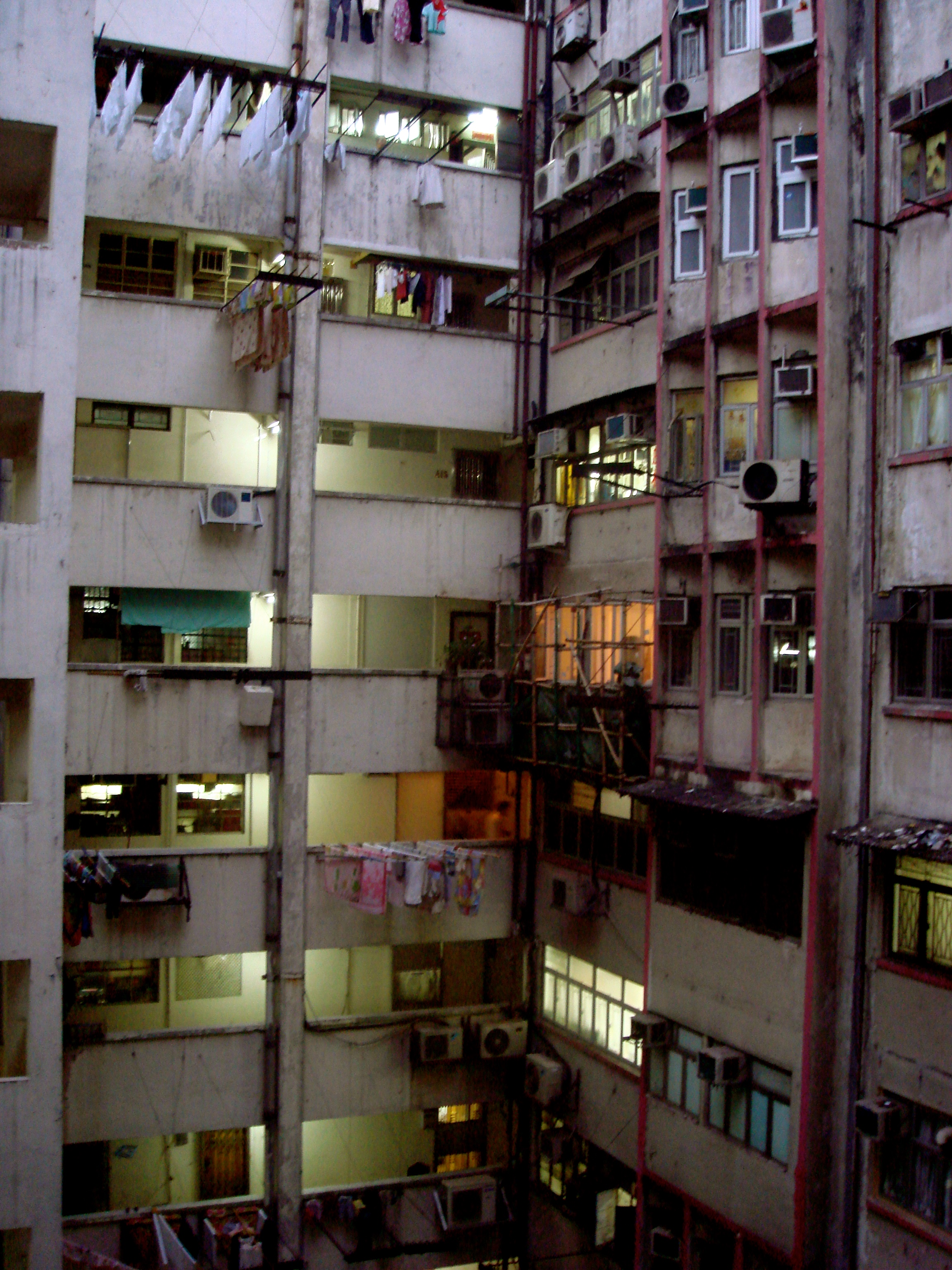 One of the tenement buildings in Kowloon