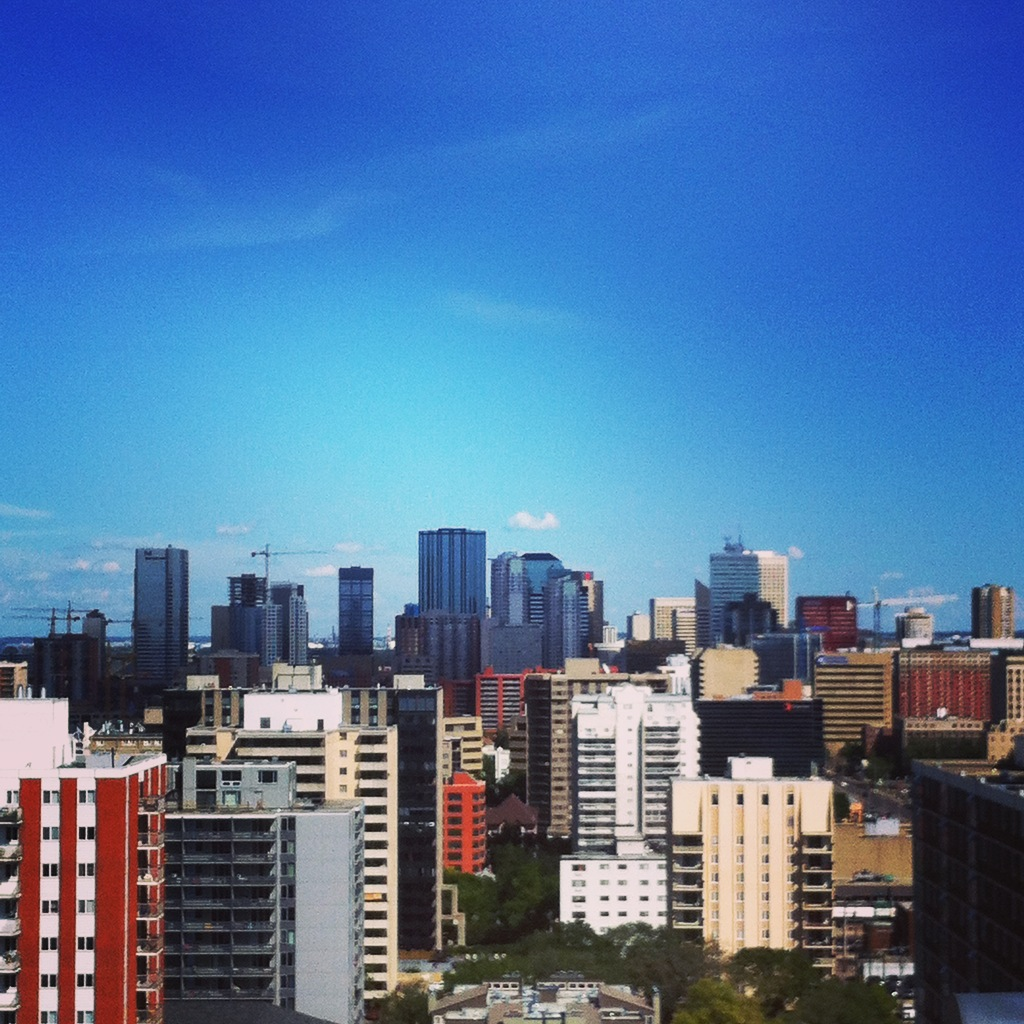 Looking downtown from a 20-story roof top in Edmonton, Alberta, Canada