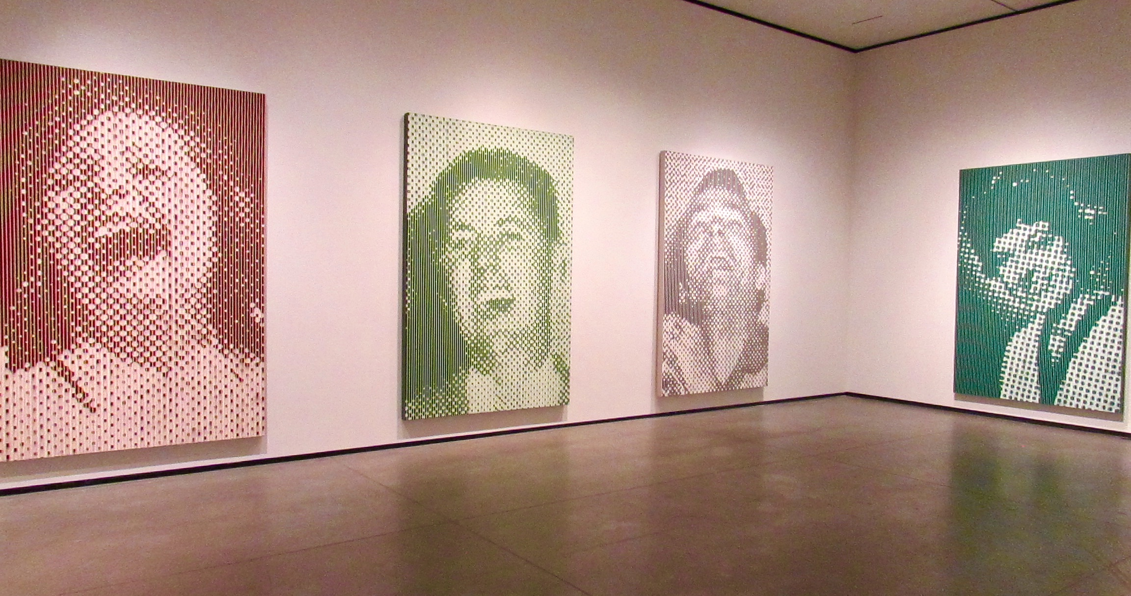 Large Orange Laughing Woman , 1991;  Large Green Laughing Man , 1990;  Large Pink Laughing Man , 1991;  Large Green Woman , 1991