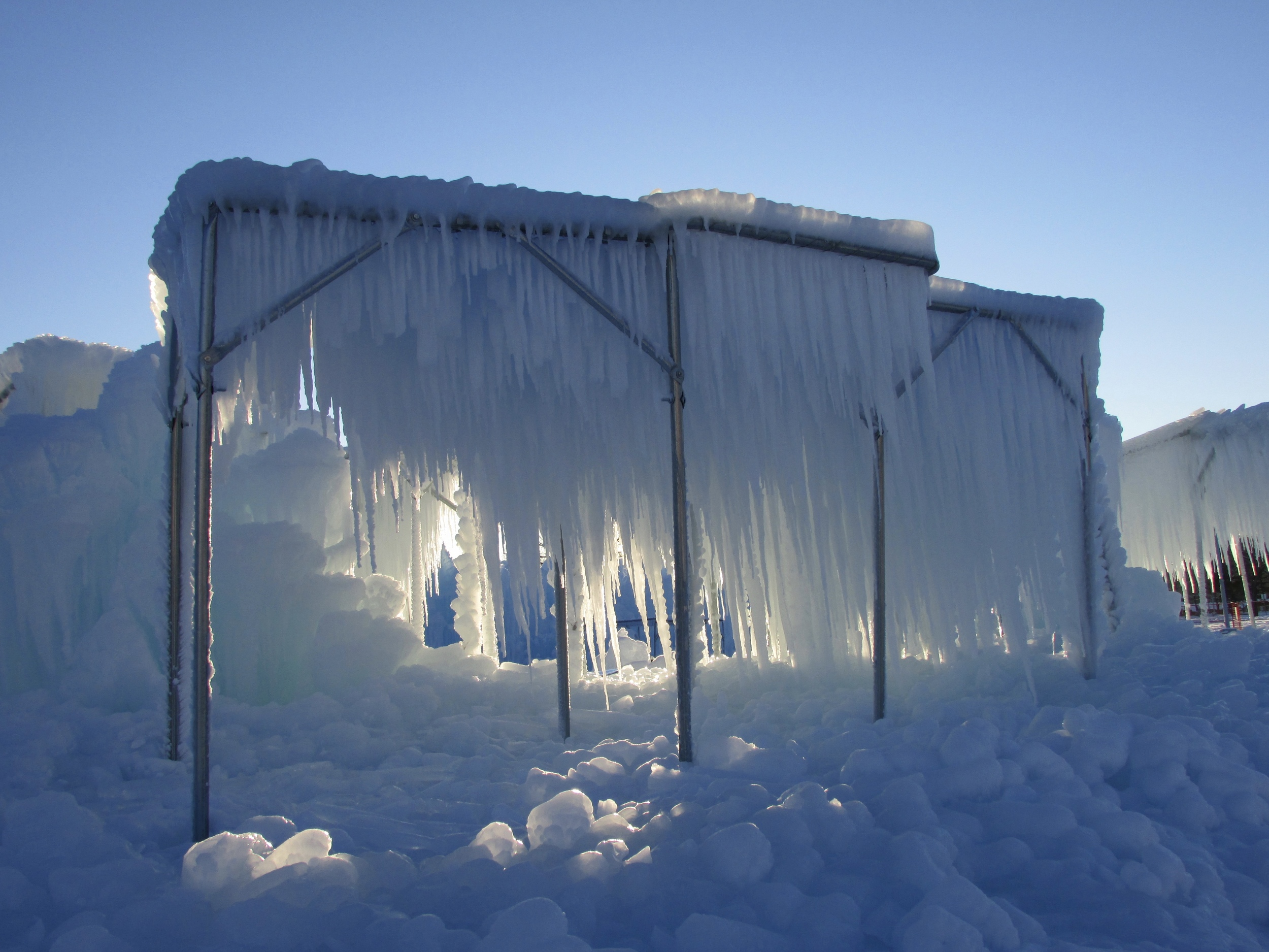 Icicles are grown on custom frames before being fused to the castle