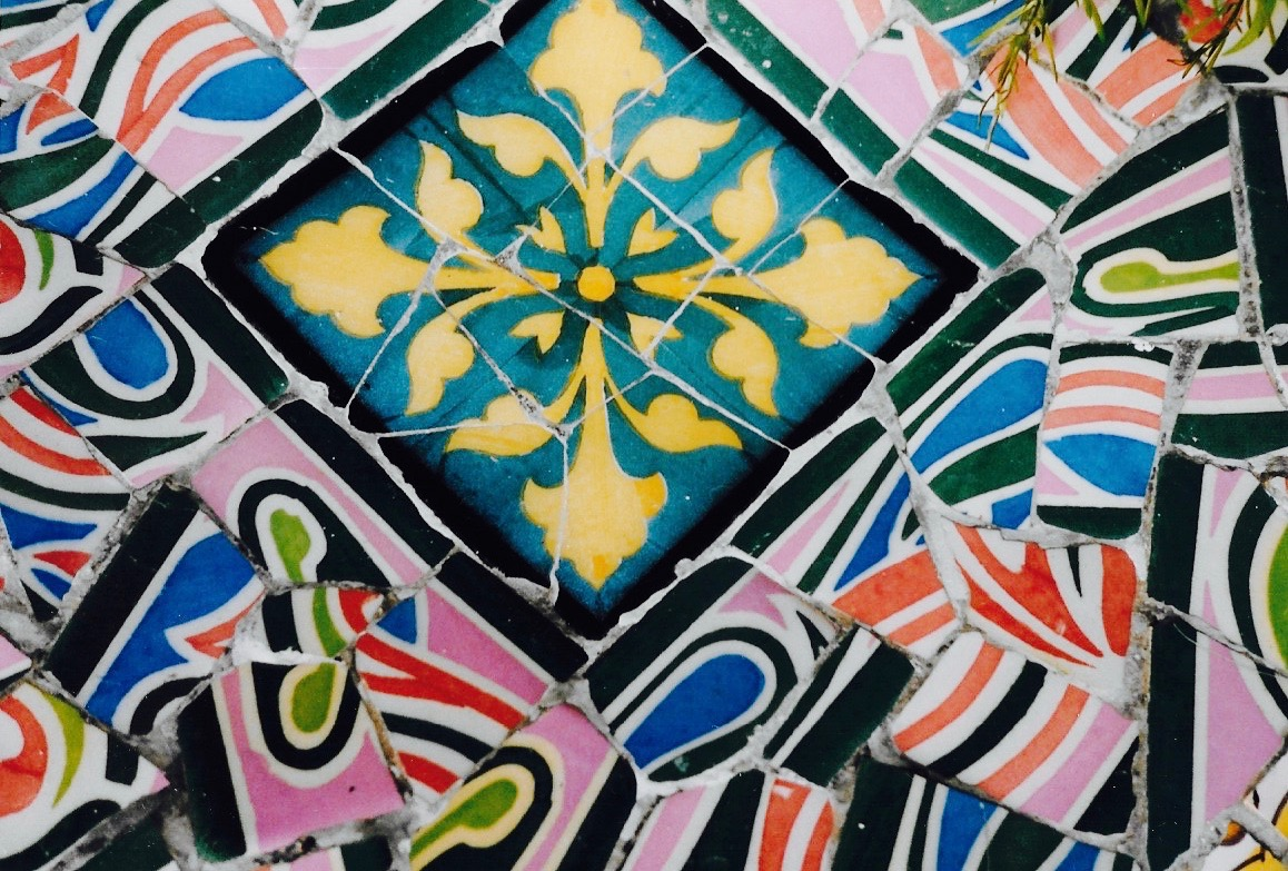 Detail of a mosaic In Park Guell, Barcelona