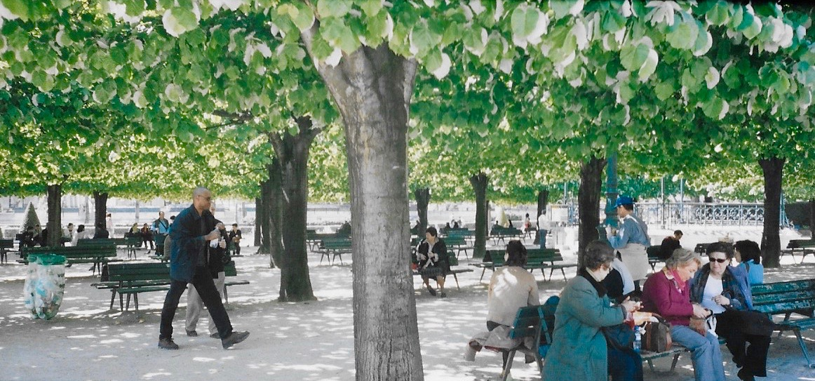 Locals enjoying lunch in a small Parisian park
