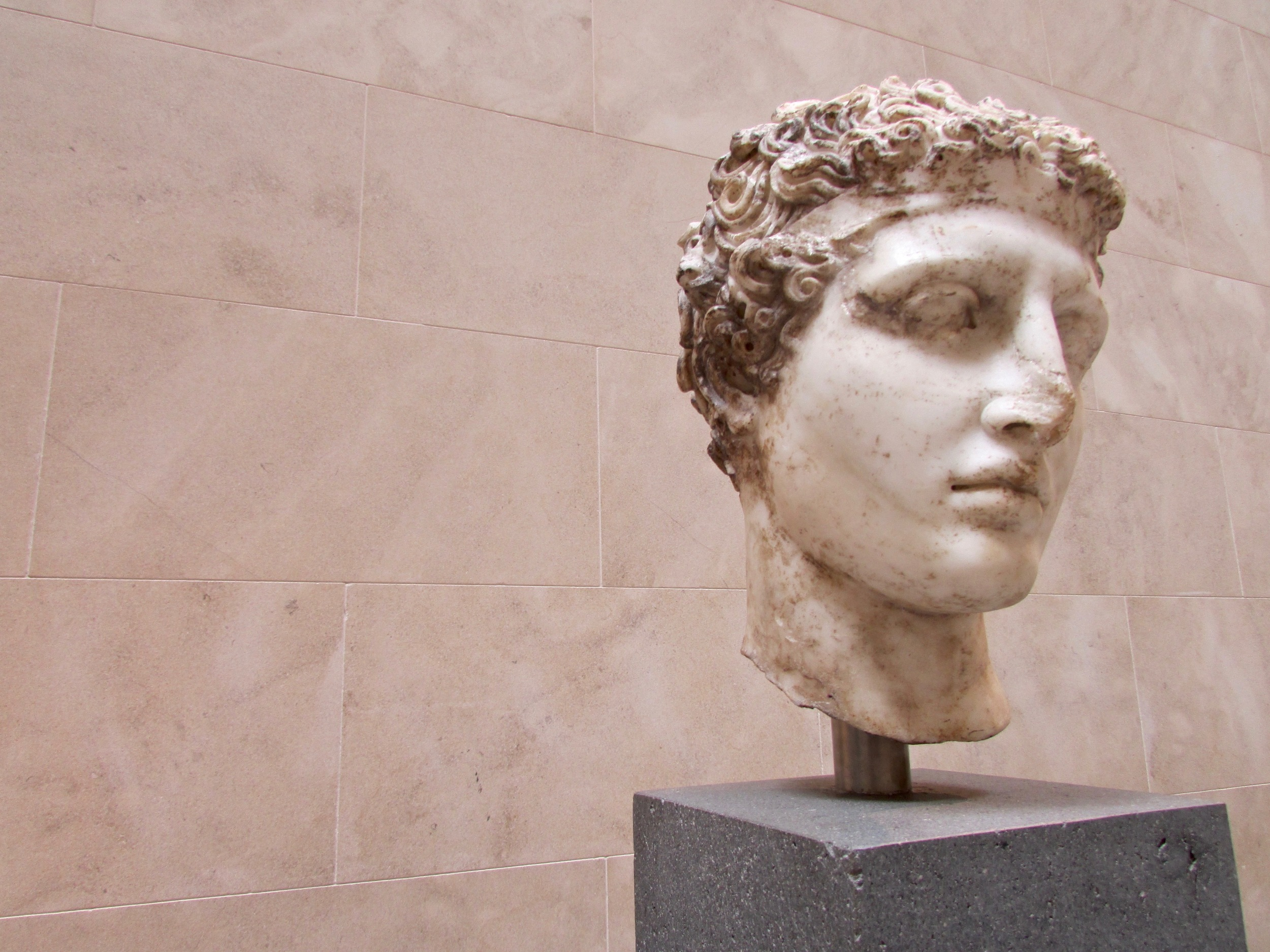 Marble head of an athlete in the Greek and Roman Art wing of The MET, NYC