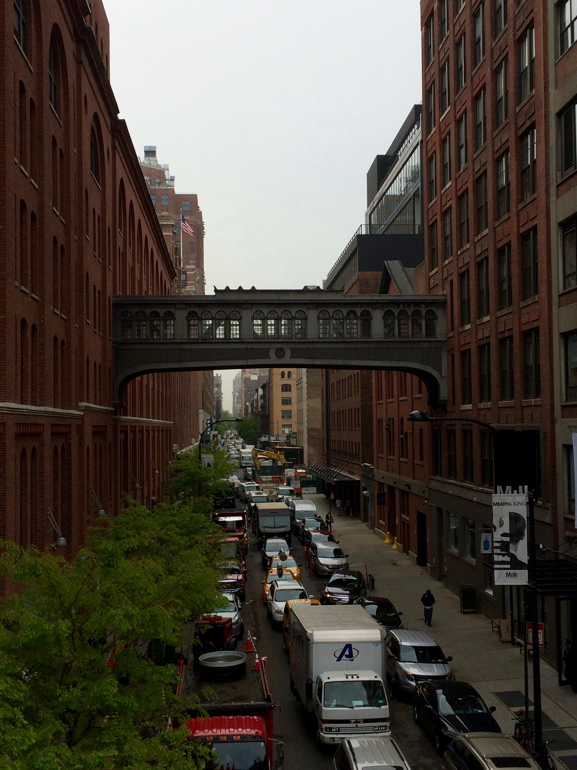 A view of the building that houses the Chelsea Market from the High Line