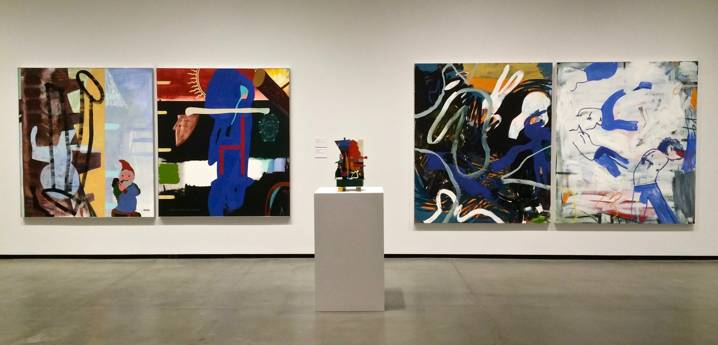 According to the artists, this grouping was their favourite of the exhibition.  Painting Nature with a Mirror , 1985 by Ron Moppett (left)  Match , 1986 by Ron Moppett (sculpture)  The Bells , 2010 by Damian Moppett (right)